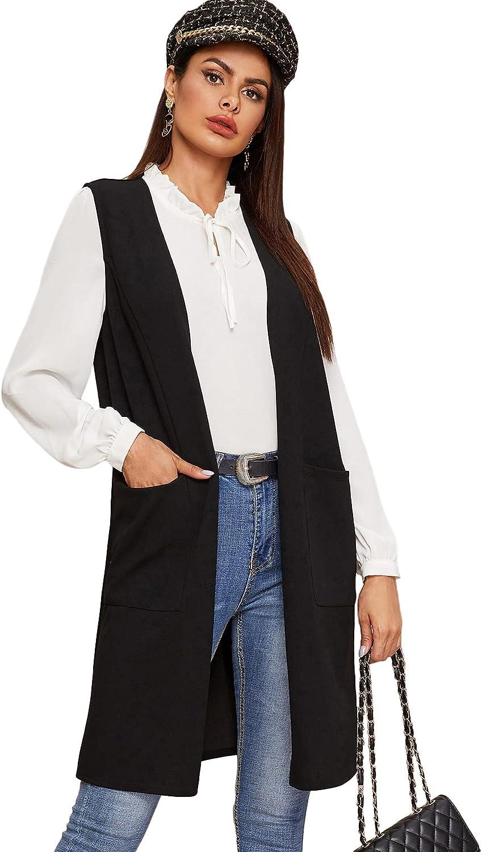 Floerns Women's Long Cardigan Open Front Vest Sleeveless Outwear with Pocket