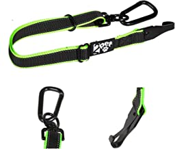 2PET Dog Seatbelt Strap Adjustable Dog Seat Belt for All Breeds – Use with Harness – All Car Makes – Carabiner Clip Leash – Green and Black