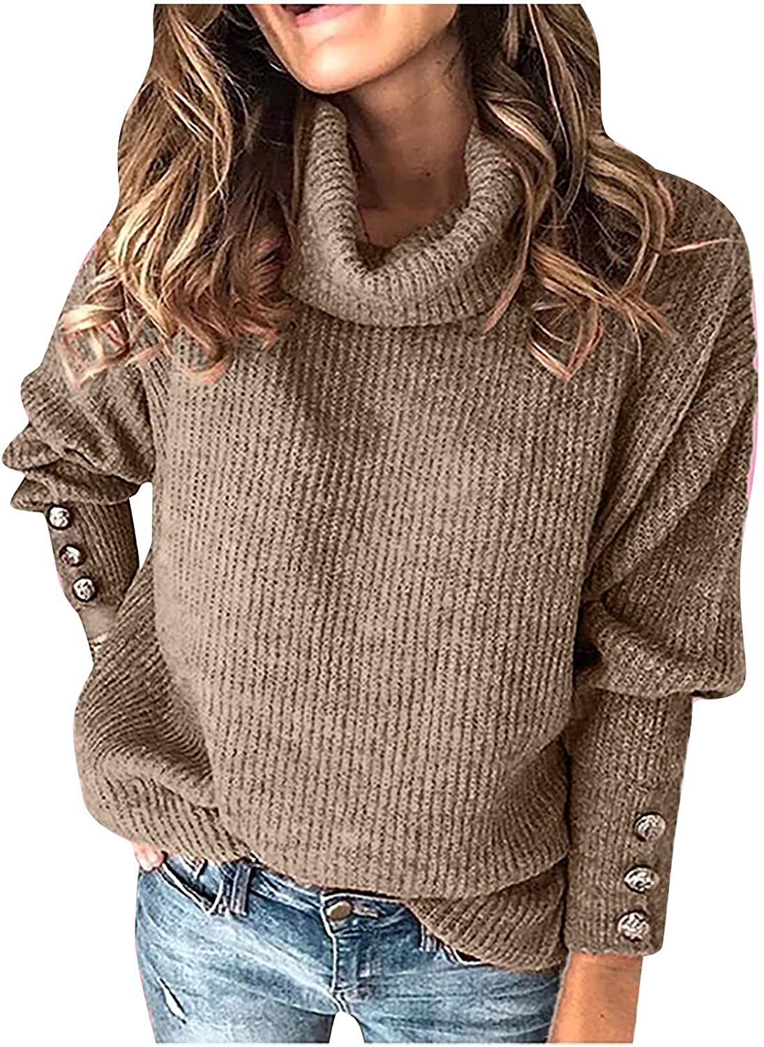 Sweaters for Women,Womens Tops Fashion Fit Turtleneck Jumper Autumn Knitted Long Sleeve New Solid Color Ladies Elegant Blouse