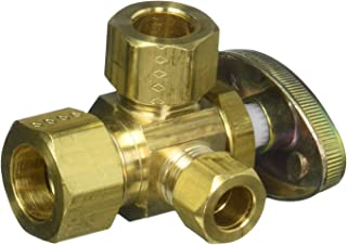 BrassCraft Cr3901lxfaucet-Valves Brass Craft Stop Valve, 1/4 Turn, Dual Outlet, Left Side, Multi-Turn, 1/2 x 3/8 In Nominal