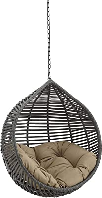 Modway EEI-3637-GRY-MOC Garner Teardrop Outdoor Patio Swing Chair Without Stand, Gray Mocha