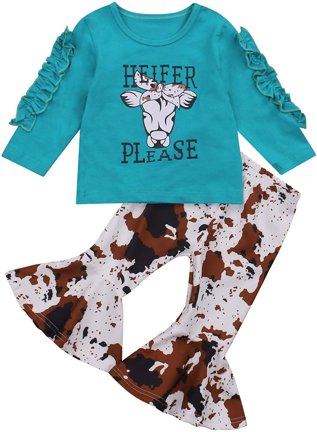 Toddler Newborn Baby Girl Flared Long Sleeve T-Shirt Sunflower Tops Bell Bottoms Pants with Headband 3Pcs Outfit Set
