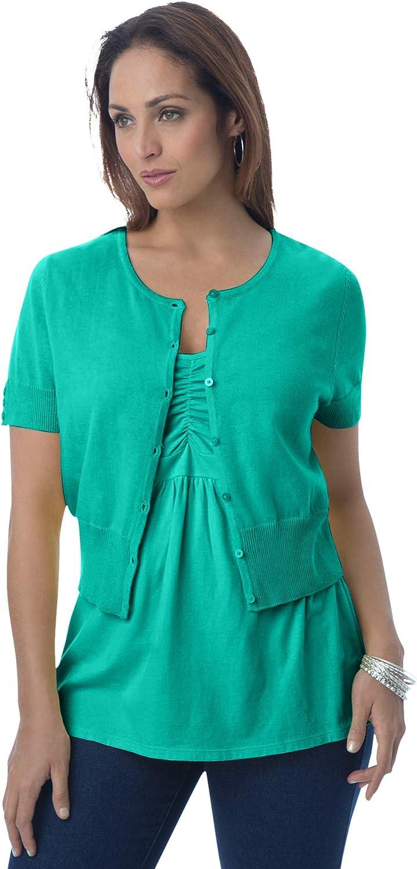 Jessica London Women's Plus Size Jewel-Neck Shrug Sweater