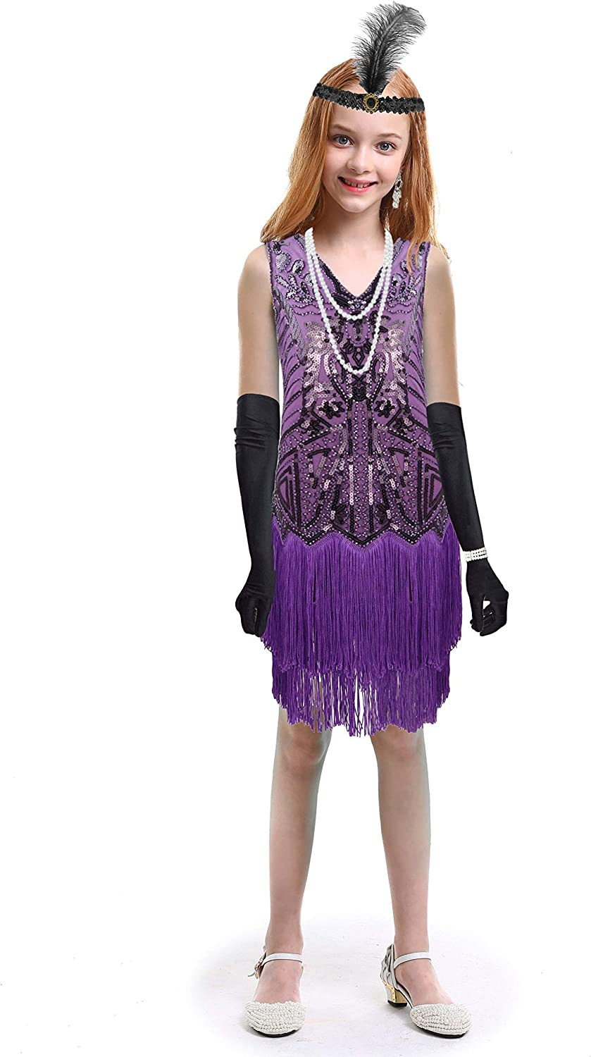 Girls 1920s Tucson Mall Flapper Dress Great Sequins for Limited time sale Gatsby Fringed