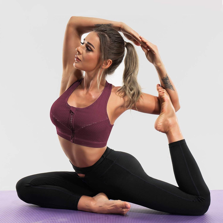 CYDREAM Women Racerback Sports Bras Medium Impact Support Yoga Bra Front Zip Workout Removable Pads Wireless