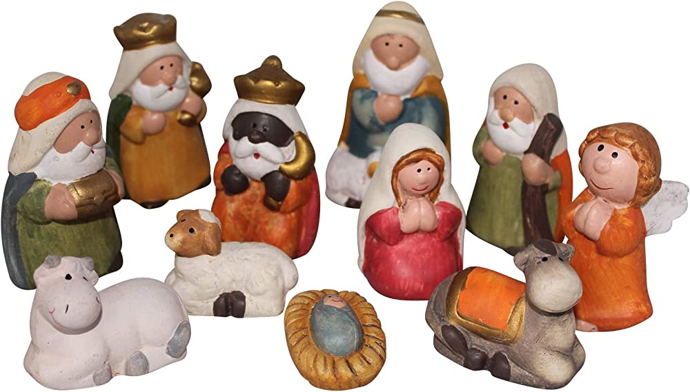 Set di 11 figure presepio di natale 7,5cm in ceramica