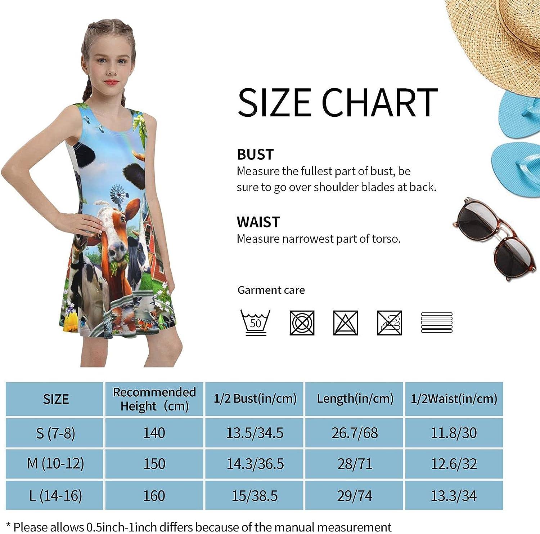 Hionhsw Cows Girls Sleeveless Dress Teens Casual School Party Beach Sundress 7-16 Years