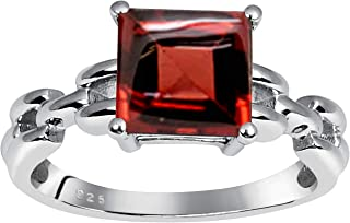 3.05 Ct Square Red Garnet Solitaire 925 Sterling Silver Ring For Women By Orchid Jewelry : A Perfect Birthstone For January