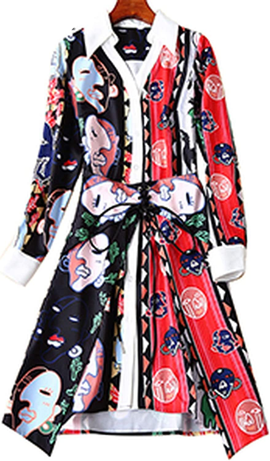 Fashion Print Dresses TurnDown Collar Sashes Elegant Party Dress Spring and Summer Runway New Women,Multi,M