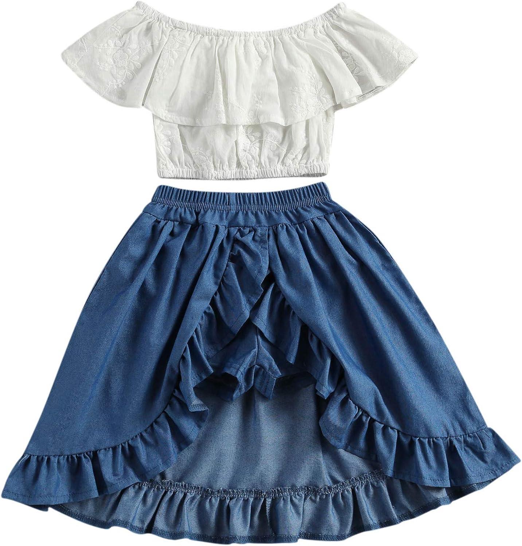 Toddler Girl Summer Clothes White Off-Shoulder Blouse Top Shirt+ Irregular Toddler Girl Dresses Set Girl 2 Piece Outfits