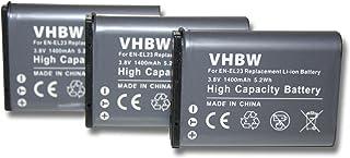 Set vhbw 3 x baterías 1400mAh (3.8V) para cámara Nikon CoolPix B700 y EN-EL23.