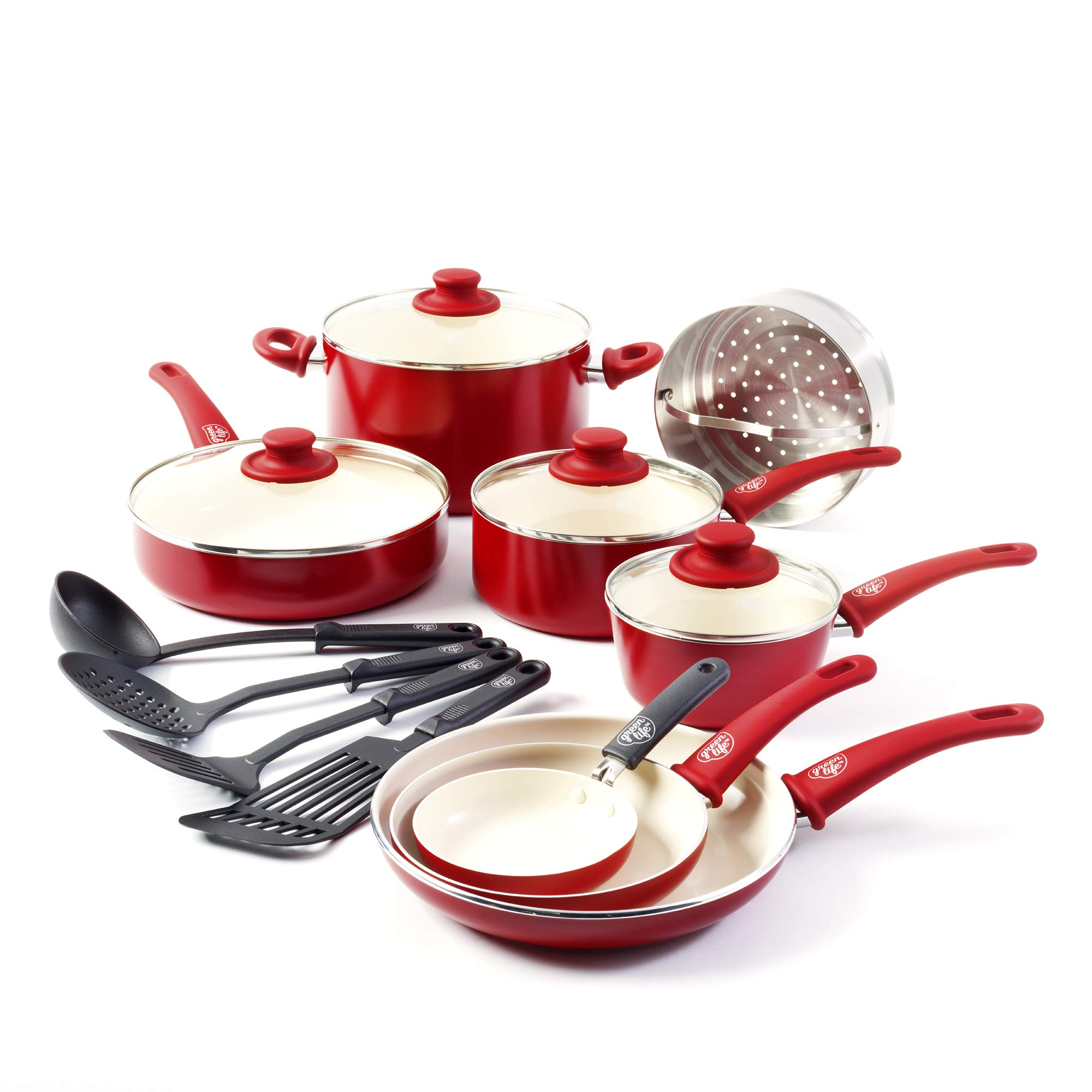 GreenLife Ceramic Non Stick Cookware Burgundy