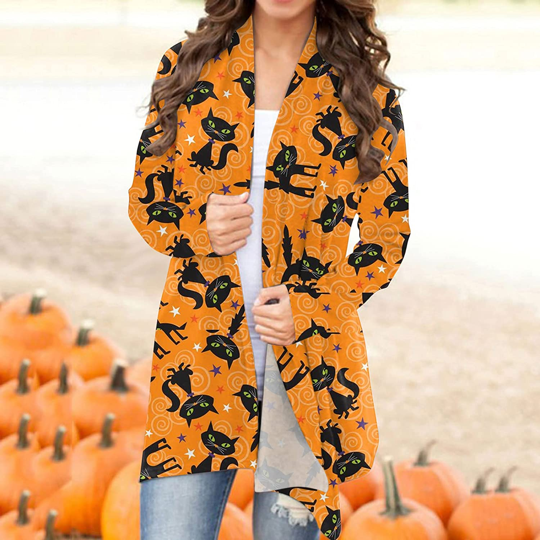 Halloween Sweatshirts for Women,Funny Black Cat Cute Pumpkin Graphic Tops Long Sleeve Open Front Cardigan Lightweight Coat