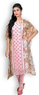 PINK GEORGETTE KAFTAN SUIT WITH CHIKNAKARI