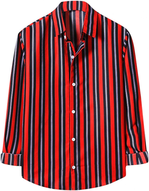 Huangse Hawaii Shirt for Men Long Short Sleeve Beach Printed Summer Button Down Lapel Striped Shirt