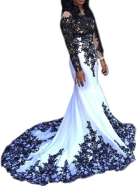 Ellystar Women's Jewel Zipper Long Sleeves Luxury Satin Mermaid Evening Dresses