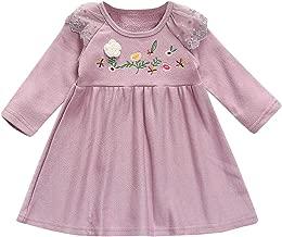SRYSHKR-Beauty Baptism Gifts for Baby Girl,Toddler Kids Baby Girls Soild Embroidered Long Sleeve Princess Skirt Dress