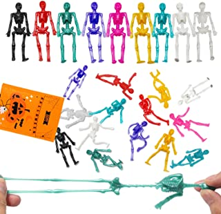 24PCS Halloween Stretchy Skeleton Toys, Assorted Color Stretchy Skull squishy Toys for Party Favors, Happy Halloween Goody...