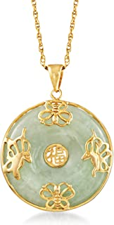 "Ross-Simons Jade""Good Fortune"" Butterfly Pendant Necklace in 18kt Gold Over Sterling. 18 inches"