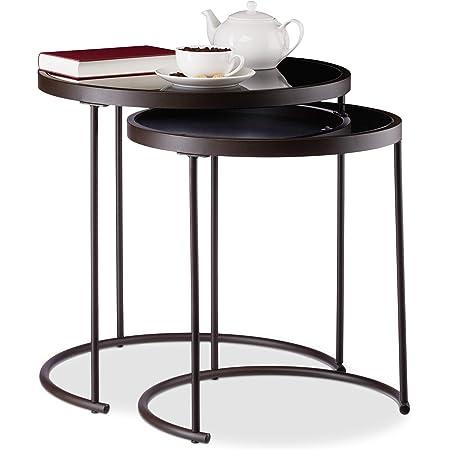 Relaxdays 10024571 Basse d'appoint gigogne Lot de 2, Nuit Ronde, Tables de Chevet, HxD : 50 x 50 cm, Marron/Noir, Acier, Verre