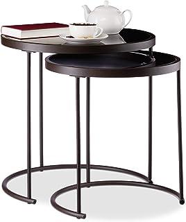 Relaxdays 10024571 Basse d'appoint gigogne Lot de 2, Nuit Ronde, Tables de Chevet, HxD : 50 x 50 cm, Marron/Noir, Acier, V...