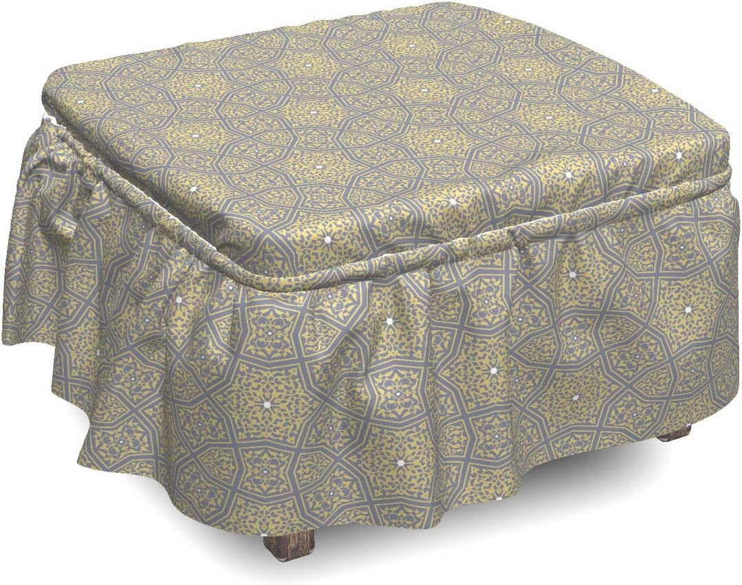 Ambesonne Traditional Max 54% OFF Ottoman Cover Floral S 2 Slipcover Attention brand Piece