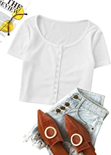 ROMWE Women's Casual Short Sleeve Rib Knit Ring Front Fitted Solid Crop Top Tee Shirt