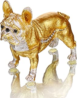 YU FENG Gold Bulldog Trinket Box Enameled Pewter Bejeweled Gift for Dog Lover Keepsake Ornament