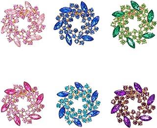 WeimanJewelry Lot 6pcs Colorful Crystal Rhinestone Flower Brooch Pin Set for Women Wedding Corsage