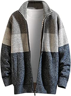 Houshelp Men's Cotton Blend Full Zip Cardigan Sweaters Relaxed Fit Outwear with Pockets Casual Cardigans Fall Winter