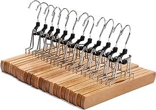 JS HANGER Natural Solid Wooden Collection Slack Hanger, Wood Skirt Hangers, Natural Polished, Set of 12