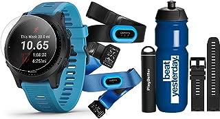 Garmin Forerunner 945 (Tri-Bundle) Runner's Bundle | Includes Garmin Water Bottle, HRM-Tri & HRM-Swim Chest Straps, HD Screen Protectors (x4), Watch Bands (x2, Blue & Black) & PlayBetter Charger
