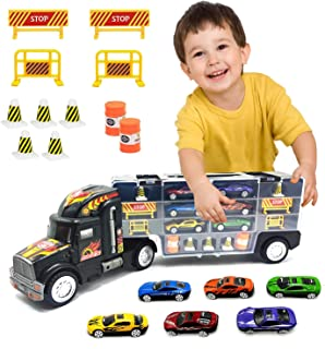 Toy Truck Transport Car Carrier Toy for Boys and Girls age 3 - 10 yrs old - Hauler Truck Includes 6 Toy Cars and Accessori...