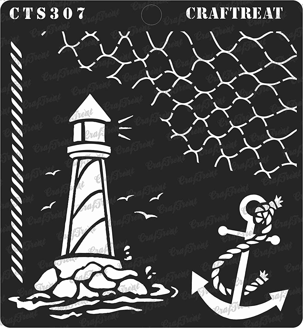 CrafTreat Stencil - Nautical   Reusable Painting Template for Journal, Notebook, Home Decor, Crafting, DIY Albums, Scrapbook and Printing on Paper, Floor, Wall, Tile, Fabric, Wood 6