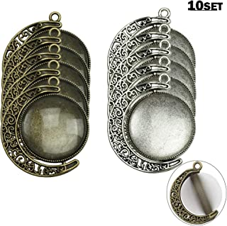 Moon Rotation Double Side Pendant Trays 30Pcs Kit, 10Pcs Pendant Tray with 20Pcs Glass Cabochon Clear Dome 25mm Blank 2 Colors Bezels for Photo Pendant DIY Craft Jewelry Making by SHXSTORE