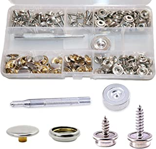 120-Pieces Stainless Steel Marine Grade Canvas and Upholstery Boat Cover Snap Button Fastener Kit with 2Pcs Setting Tool