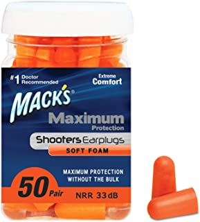Mack's Maximum Protection Soft Foam Shooting Ear Plugs, 33 dB Highest NRR – Comfortable Earplugs for Hunting, Tactical, Ta...