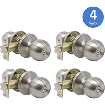 10 Pack Probrico Privacy Door Lock Storage Room Bathroom Keyless Door Knobs with lock no keys Lockset 609-SN-BK Round Knob set Brushed Satin Nickel Home Building Store