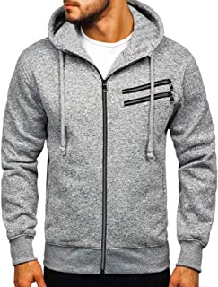 F_Gotal Men's Color Block Patchwork Hooded Pullover Drawstring Hoodie Sweatshirt with Big Pockets Outwear