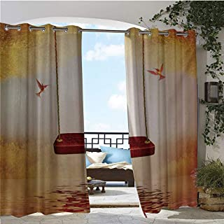 GUUVOR Balcony Curtains, Red Hammock and Hummingbird in a Peaceful Lake Fantasy Fairytale Scene, Outdoor Patio Curtains Waterproof with Grommets W72 x L108 Inch Orange Burgundy