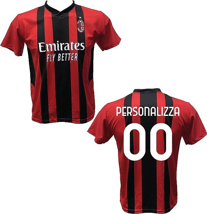 Maglia Calcio Milan Personalizzabile Replica Autorizzata 2020-2021 Bambino (Taglie 2 4 6 8 10 12) Adulto (SML XL)