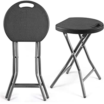 5Rcom Portable Stools Folding Lightweight Collapsible Stool 18 inch Set of 2 Plastic Foldable Fold up Round Stool for Adults with Heavy Duty Steel Frame Legs,300lbs Capacity/2 Pack,Black