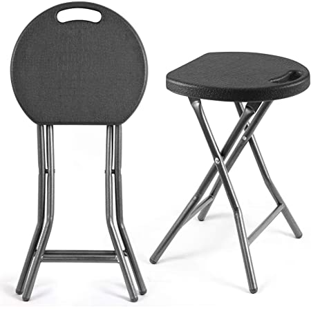 5Rcom Portable Stools Folding Lightweight Round Collapsible Stool 18 inch Set of 2 Plastic Foldable Fold up Round Stool for Adults with Heavy Duty Steel Frame Legs,300lbs Capacity/2 Pack,Black