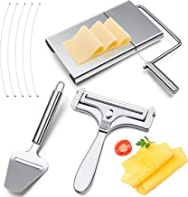 3 Pieces Stainless Steel Wire Cheese Slicer Adjustable Thickness Cheese Cutter Stainless Steel Butter Cutter with Serving ...