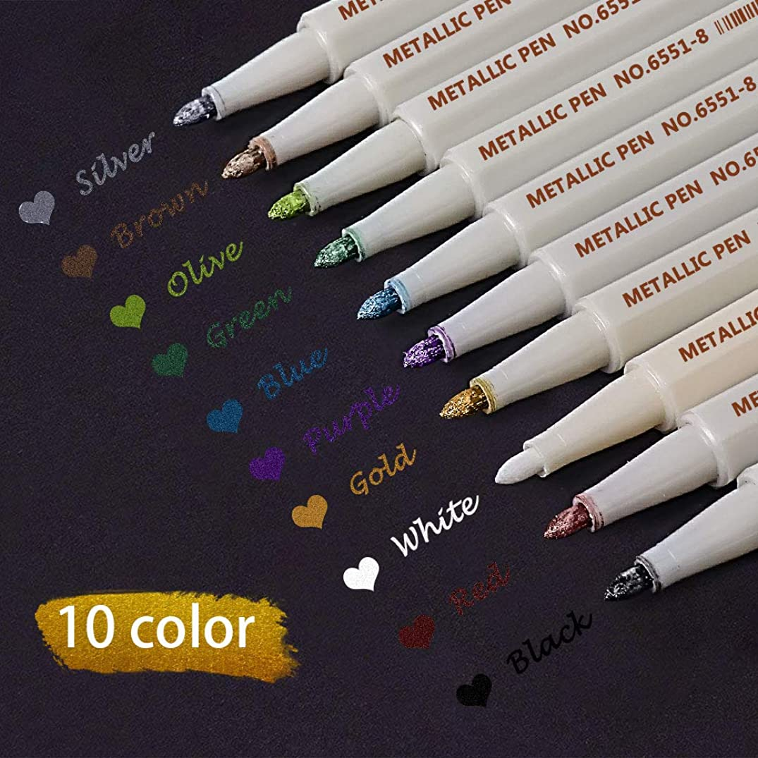 Metallic Marker Pens for Black Paper,Scrapbook Kit, Photo Album, Card Making, Art Rock Painting Coloring, Metal, Ceramics, Glass, Wood Paint,JR.WHITE Thin Metallic Markers Set of 10 - Fine Tip