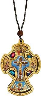 Inspire Nation カーロザリオ カトリック木製クロス クリスタルインセンス付き ブルー