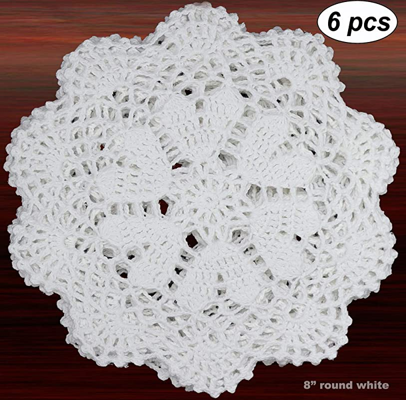 Creative Linens 6PCS 8 Inch Round Handmade Cotton Crochet Lace Doilies With Hearts White Set Of 6 Pieces For Valentine S Day Mother S Day Wedding Decoration