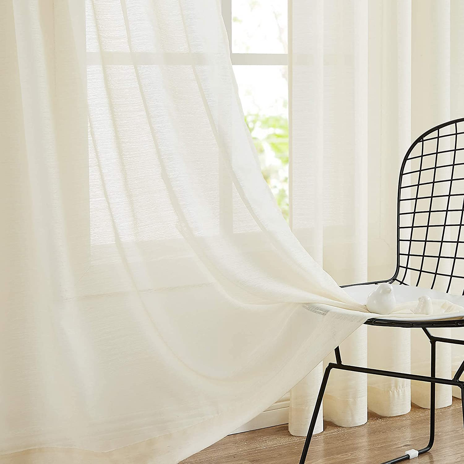 Linen Sheer Curtains 84-inch Luxury Ranking TOP14 for Trans Room Living Ivory Bedroom