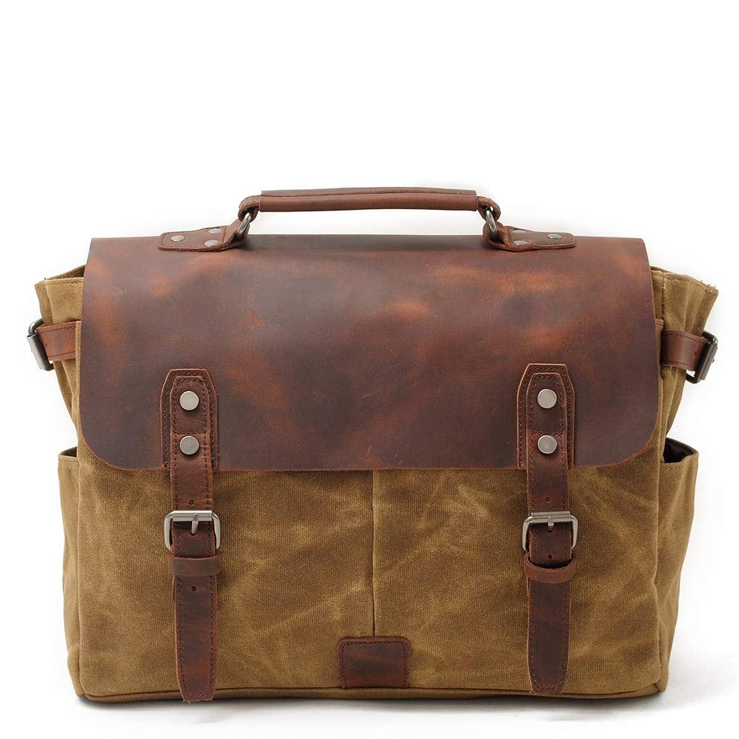 Mens Messenger Bag,Handmade Cross Body Bag Leather Laptop Briefcase Waxed Canvas Shoulder Bag with Detachable Strap,Computer Sctchel Bag Travel Work Bag for 14 inches Laptop rhbykpkiigg0
