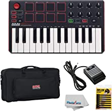 Akai Professional MPK MINI MK2 MKII | 25-Key Ultra-Portable USB MIDI Drum Pad & Keyboard Controller (Red/Black) + Gator GK2110 Gig Bag + Sustain Pedal + Cable Ties + Clean Cloth